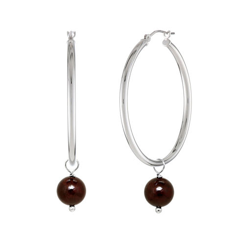 Genuine Garnet Bead 39mm Sterling Silver Hoop Earrings