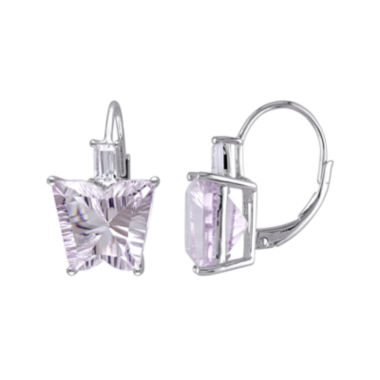 jcpenney.com | Genuine Pink Amethyst and White Topaz Butterfly-Shaped Earrings