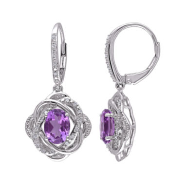 jcpenney.com | Genuine Amethyst and 1/6 CT. T.W. Diamond Drop Earrings