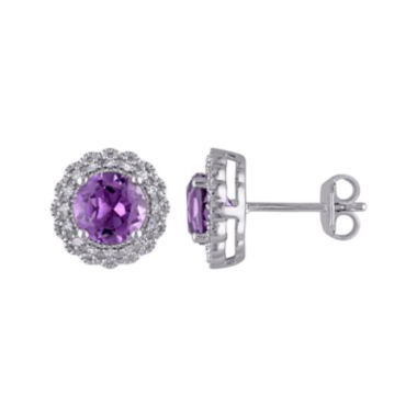 jcpenney.com | Genuine Amethyst and 1/10 CT. T.W. Diamond Stud Earrings