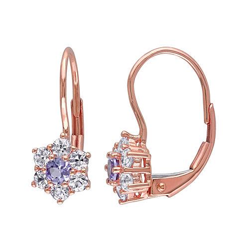 Genuine Tanzanite and White Sapphire 10K Rose Gold Earrings