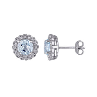 jcpenney.com | Genuine Sky Blue Topaz and 1/10 CT. T.W. Diamond Stud Earrings