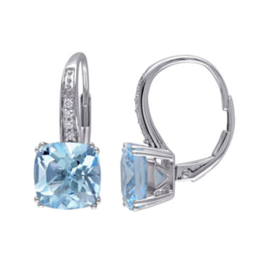 jcpenney.com | Genuine Sky Blue Topaz and Diamond-Accent Leverback Drop Earrings