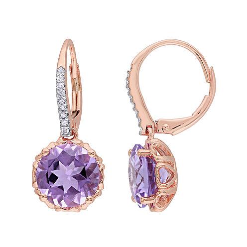 Genuine Amethyst and 1/10 CT. T.W. Diamond 10K Rose Gold Earrings