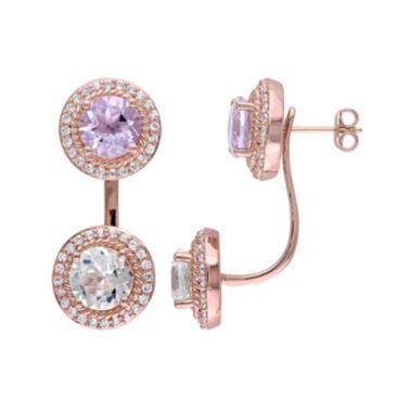 jcpenney.com | Genuine Rose de France and Green Amethyst Front-to-Back Earrings