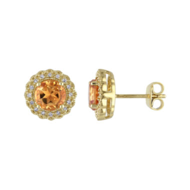 jcpenney.com | Genuine Citrine and 1/10 CT. T.W. Diamond Stud Earrings