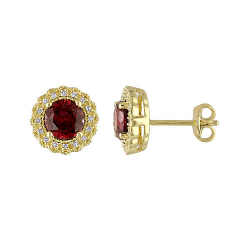 Genuine Garnet and 1/10 CT. T.W. Diamond Stud Earrings