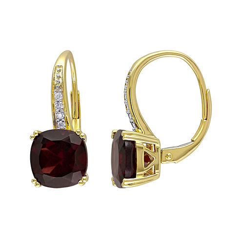 Genuine Garnet and Diamond-Accent Leverback Drop Earrings