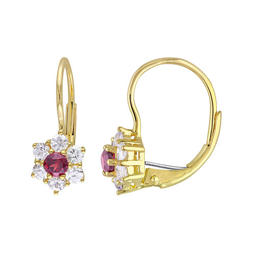 Genuine Garnet and White Sapphire 10K Yellow Gold Earrings