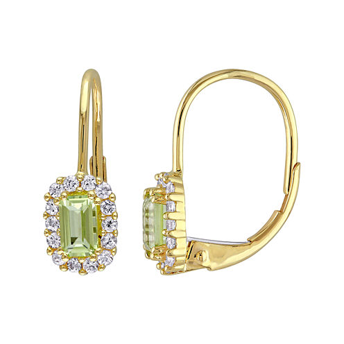 Genuine Peridot and White Sapphire Halo Leverback Drop Earrings