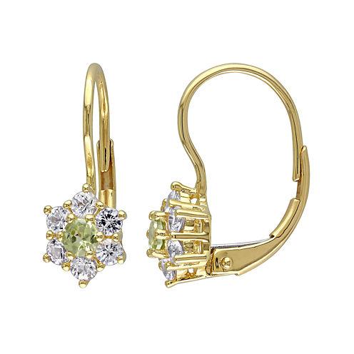 Genuine Peridot and White Sapphire 10K Yellow Gold Earrings