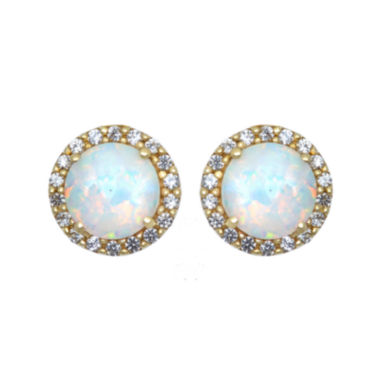 jcpenney.com | Lab-Created Opal and White Sapphire Halo Earrings