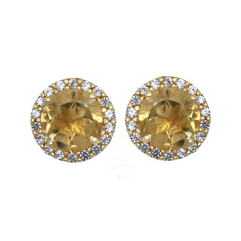 Genuine Citrine and Lab-Created White Sapphire Halo Earrings
