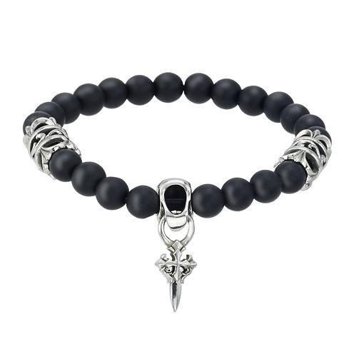Mens Black Bead and Stainless Steel Cross Bracelet