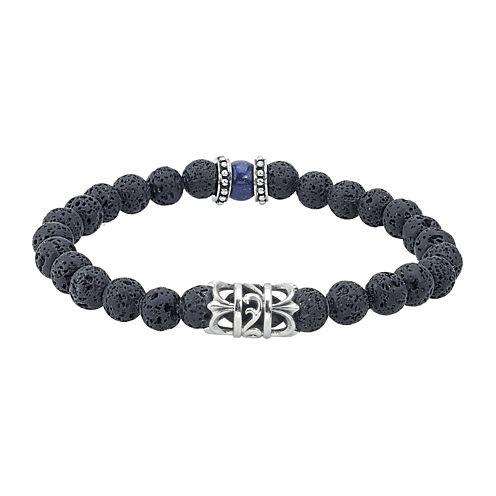 Mens Black Bead and Stainless Steel Bracelet