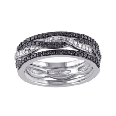 jcpenney.com | 1/10 CT. T.W. White and Color-Enhanced Black Diamond Black Two-Tone Sterling Silver 3-pc. Ring Set