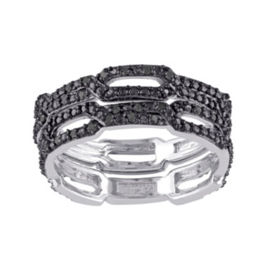 jcpenney.com | 1/7 CT. T.W. Color-Enhanced Black Diamond Black Sterling Silver Ring Set