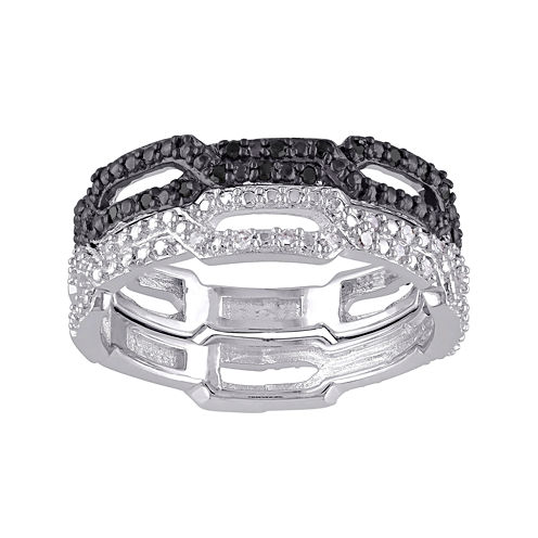 1/7 CT. T.W. White and Color-Enhanced Black Diamond Black Two-Tone Sterling Silver Ring Set
