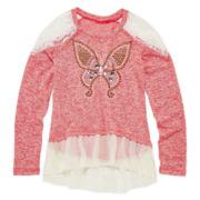 Beautees Lace-Shoulder Peplum Top - Girls 7-16