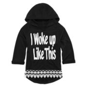 Beautees Lace-Hem Graphic Hoodie - Girls 7-16