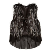 Beautees Faux Fur Chiffon Ruffle Vest - Girls 7-16