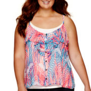 Arizona Woven Ruffle Tank Top - Juniors Plus