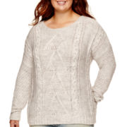 Arizona Long-Sleeve Chunky Pullover Sweater - Juniors Plus