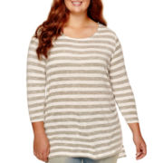 Arizona Long-Sleeve High-Low Striped Tunic - Juniors Plus