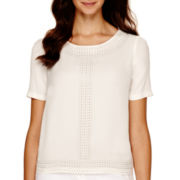 Worthington® Short-Sleeve Beaded Blouse - Petite