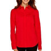 Worthington® Long-Sleeve Button-Front Oxford Shirt - Petite