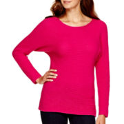 a.n.a® Long-Sleeve Textured Sweater- Petites