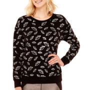 Bisou Bisou® Long-Sleeve Foiled Lip Sweatshirt
