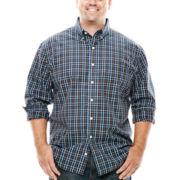 Arrow® Long-Sleeve Plaid Poplin Shirt - Big & Tall