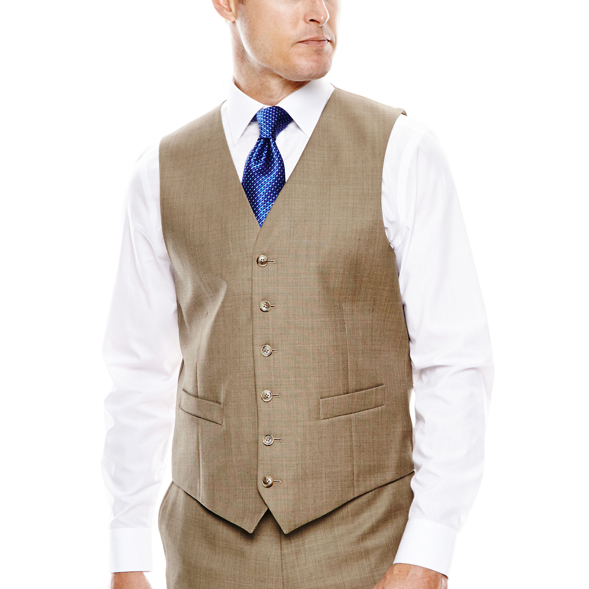 Stafford Travel Sharkskin Suit Vest - Classic Fit