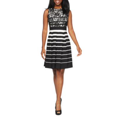 Danny Amp Nicole Sleeveless Lace Striped Fit Amp Flare Dress