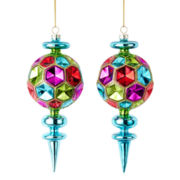 MarthaHoliday™ Merry and Bright Set of 2 Glass Icicle Christmas Ornaments