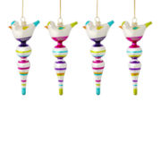 MarthaHoliday™ Merry and Bright Set of 4 Glass Bird Finial Christmas Ornaments