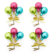 MarthaHoliday™ Merry and Bright Set of 4 Glass Balloons Christmas Clips