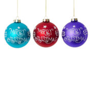 MarthaHoliday™ Merry and Bright Set of 3 Merry Christmas Glass Ball Ornaments