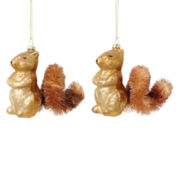 MarthaHoliday™ Into the Woods Set of 2 Glass Squirrel Christmas Ornaments