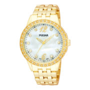 Pulsar® Womens Mother of Pearl Dial Gold-Tone Bracelet Watch PH8052