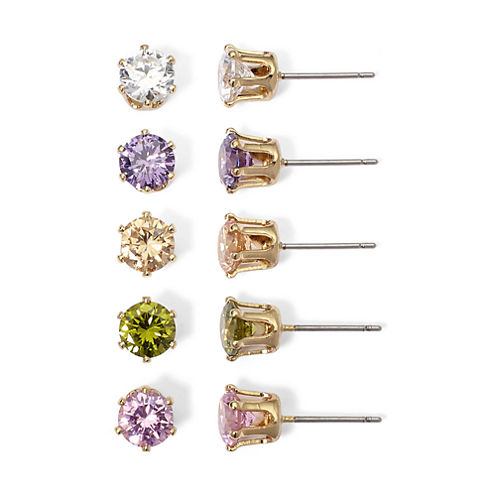 Mixit Multi-color Cubic Zirconia 5-Pair Stud Earring Set