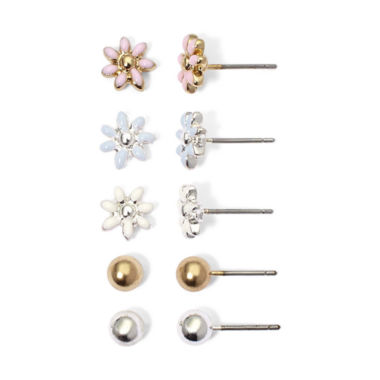 jcpenney.com | Mixit 5-pr. Daisy & Ball Stud Earring Set