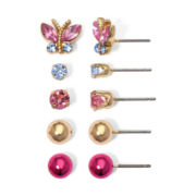 Sensitive Ears 5-Pair Butterfly Stud Earring Set