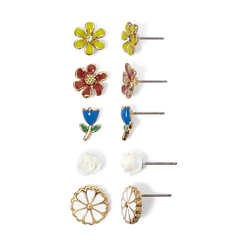 Mixit 5-Pair Flower Stud Earring Set