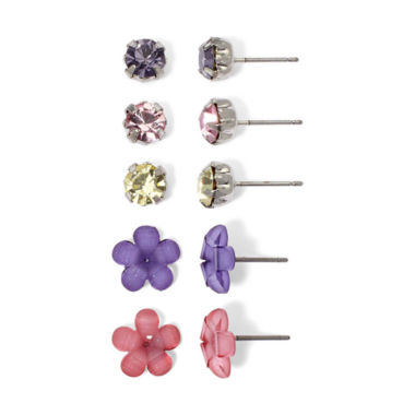 jcpenney.com | Sensitive Ears 5-Pair Flower & Crystal Stud Earring Set