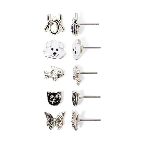 Mixit 5-Pair Critter Stud Earring Set