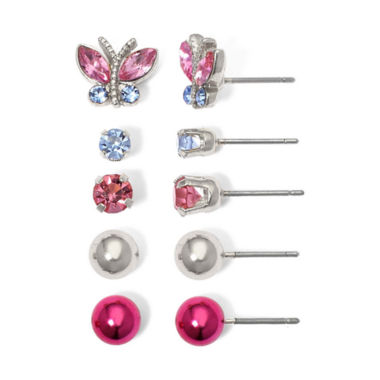 jcpenney.com | Sensitive Ears 5-Pair Butterfly Stud Earring Set