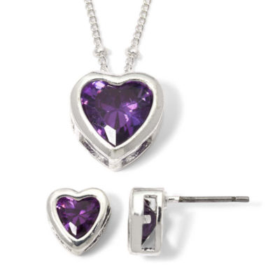 jcpenney.com | Purple Heart Cubic Zirconia Pendant Necklace & Earring Set