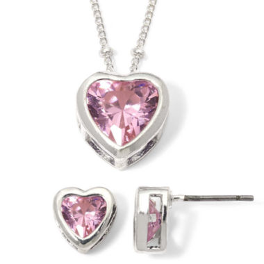 jcpenney.com | Rose Heart Cubic Zirconia Pendant Necklace & Earring Set